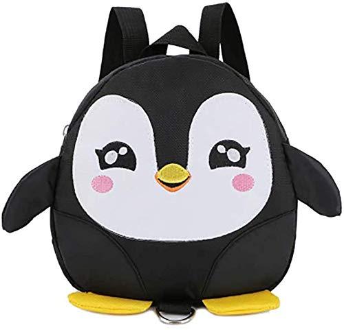 1x Mochila para niños Mochila Escolar para niños Anti-perdida Mochila de pingüino de Dibujos Animados Mochila para niños y niñas tamaño 19 * 20 * 7 cm (Negro)
