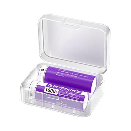 SHENMZ 18500 Rechargeable Batteries, 3.7V 1800mah Flat Top Li-ion Battery for Flashlight, Solar...