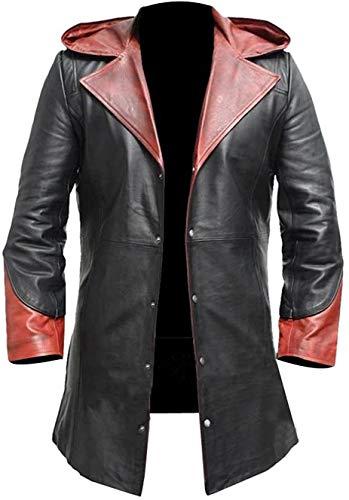 Devil May Cry V Mantel Herren DMC Dante Kostüm Schwarz Leder Hoodie Gr. Small, rot / schwarz