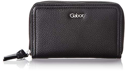 Gabor Geldbörse mit Reißverschluss Damen, Schwarz, Sumba, 20x2,5x10,5 cm, Geldbeutel, Portemonnaie