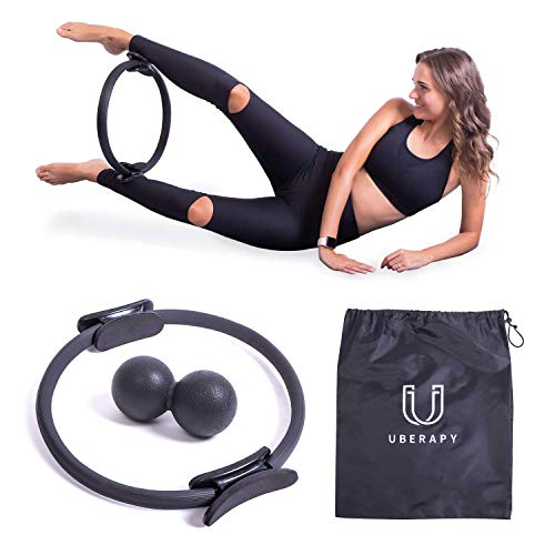 """Pilates Fitness Ring Circle and Ball Bundle Set - 14"""" Pilates Ring with Handle, Yoga Peanut Ball, Carrying Bag - Body Toning Resistance Band for Improving Core Strength, Flexibility, Posture Sculpting"""