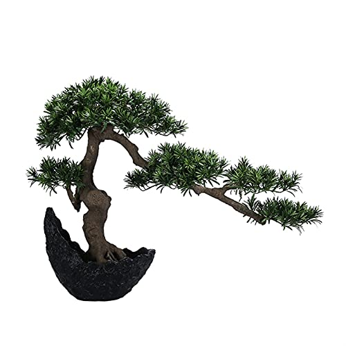 YUXINYAN Decorar Nueva simulación Podocarpus Bienvenido a Pine Crescent Bonsai Porch Flower Stand Decoración Suave Decoración de la artesanía Regalo Adornos