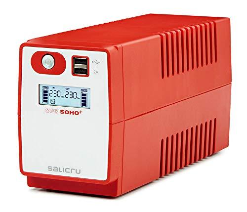 Salicru SPS 650 Soho+ – Sistema de Alimentación Ininterrumpida (SAI/UPS) de 650 VA Line-Interactive y con Doble Cargador USB