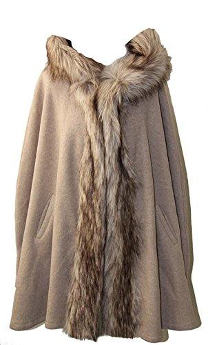 by MWP Fashion Mantel Poncho Cape Wintermantel mit Kapuze und Fake Fur Fellkragen (M)