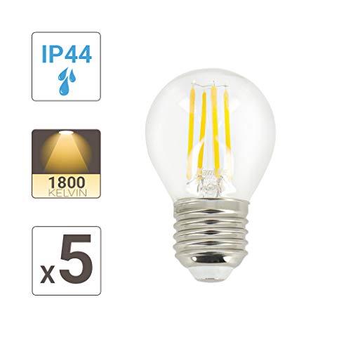 Lot De 5 Ampoules LED E27 Vintage Culot E27 - Ampoule LED E27 Spécial Extérieur - Ampoule E27 Eclairage LED Compatible Avec Guirlandes Electriques- Ampoule E27 LED Blanc Chaud - PACK5RFDV400PA Xanlite