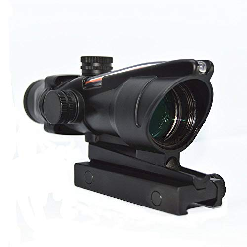 Haowenzhen Tactical Hunting 4X32 ACOG Red or Green Fiber Chevron Reticle Optics Red or Green Illuminated Rifle Scope for Shooting (Red)