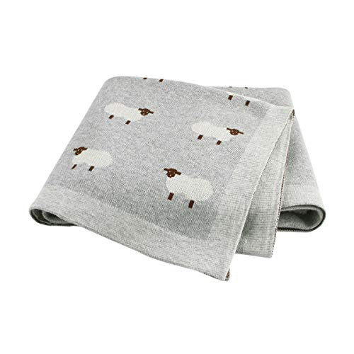 mimixiong 100% algodón manta de bebé de punto doble capa 80 x 100 cm para bebé recién nacido (Gris)