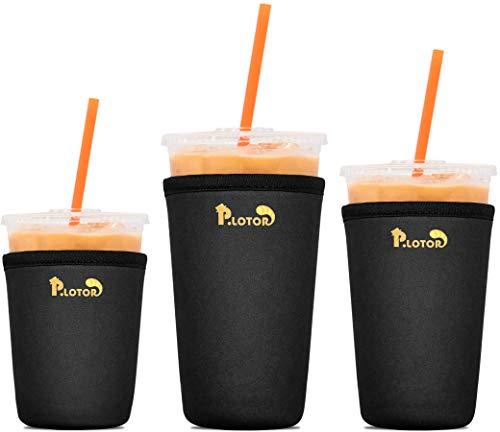 3 Pack Reusable Coffee Sleeves - Tall/Grande, Venti, Trenta - P.LOTOR Soft Cups - Iced Coffee Cozy Insulator - Neoprene Holder for Dunkin Donuts Coffee, McDonalds Coffee, Mccafe Coffee, Starbucks