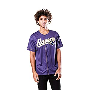 Ultra Game NFL Baltimore Ravens Mens Mesh Baseball Jersey Tee Shirt, Team Color, Small