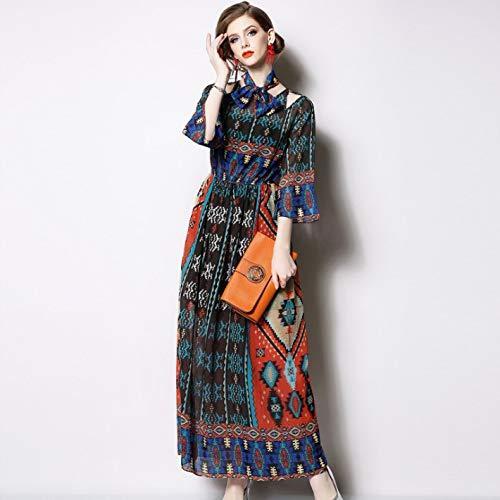 QUNLIANYI baljurk lang dames tule dames lange rok zeven punts mouwen Boheemse retro chiffon print jurk