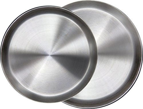 Immokaz Matte Polished 12.0 inch 304 Stainless Steel Round Plates Dish, for Dinner Plate, Camping Outdoor Plate, Baby safe, Toddler, Kids, BPA Free (1-Pack) (L (12.0