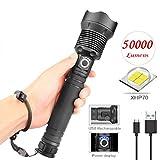 Ritapreaty LED-Taschenlampe, super helle 200000LM XHP70 LED-Taschenlampe wasserdicht wiederaufladbare HandheldTelescopic Zoom Camping Taschenlampe -