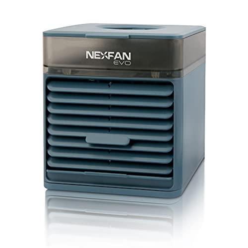 Nexfan Evo - Aparato Mini Aire Acondicionado Portátil, Refresca y Purifica el Ambiente, Función Luz UV, Silencioso, Humidificador Incluido, Conexión USB, Azul