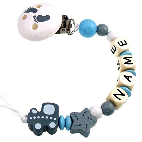 PREMIUM Schnullerkette mit Namen HOLZ Modell Babyexpress grau hellblau