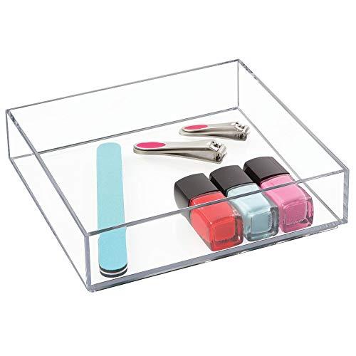 iDesign Aufbewahrungsbox für Bad, Küche oder Büro, quadratische Schubladenbox aus BPA-freiem Kunststoff, stapelbarer Kosmetik Organizer für Schminke, durchsichtig, L: 20,3 cm x 20,3 cm