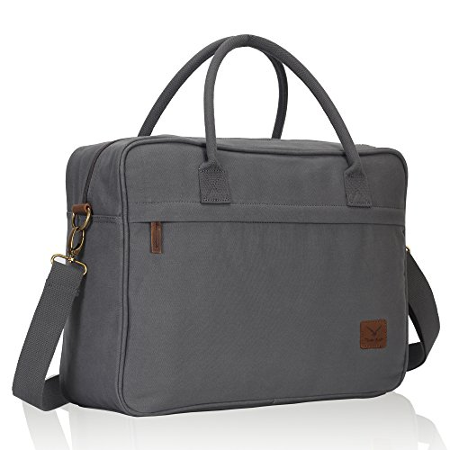 Veevan Canvas Briefcase Travel Shoulder Messenger Bag Carry On Flight Bag Fits 15.6 Inch Laptop Grey
