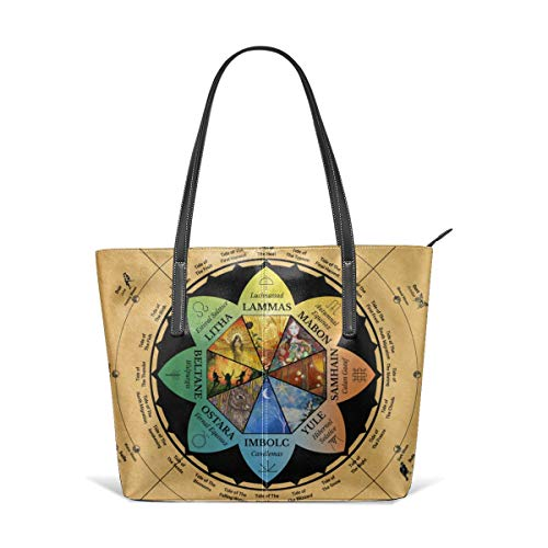 Wicca Wheel Of Year Wiccan Pagan Celtic Calendar Men Women Leather Tote Bags Satchel Top Handle Cross Body Shoulder Hobo Handbags For Ladies Shopping Bag Office Briefcase