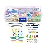 DNAMAZ Variedad útil de Herramientas Kit de Herramientas de Costura Kit de Ganchillo Aguja de Ganchillo Accesorios Suministros con Caso (Color