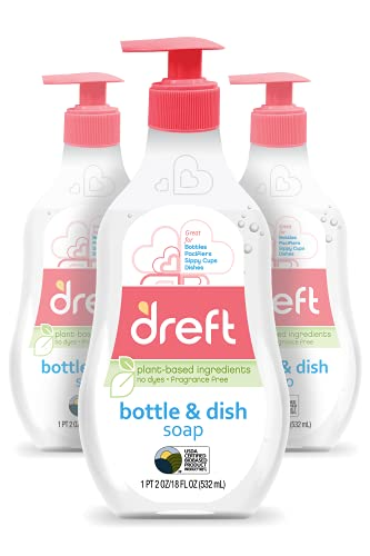 Baby, Bottle and Dish Soap by Dreft, Removes Milk Film & Odor, Plant Based, Fragrance Free, 18 Fl Oz (Pack of 3, 54 Total Ounces)