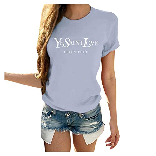 Lowest Prices! Nihewoo Women Ladies YESAINTLOVE Short Sleeve Shirts Printed T Shirts Teen Girls Tops...