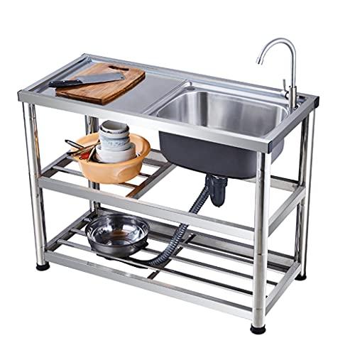 YJKDM Fregadero de Acero Inoxidable, Cocina Profesional de un Solo Fregadero, con Fregadero Vertical Simple para Verduras, con Dispositivo de Grifo, de pie, con Mesa de Trabajo, 120x45x80cm