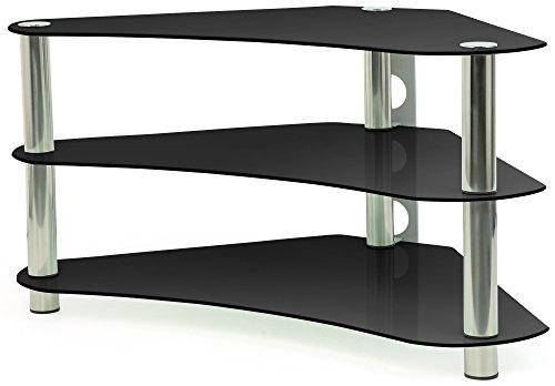 """Centurion GT7 - Scaffale angolare in vetro per TV LCD a schermo piatto/plasma/LED da 26""""-43"""", colore: Nero"""