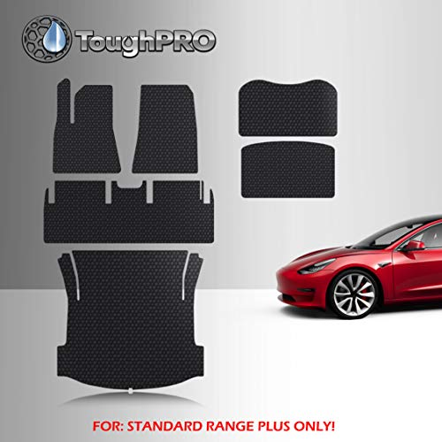TOUGHPRO Floor Mats Accessories Compatible with Tesla Model 3 Standard Range Plus All Weather Heavy Duty (Made in USA) Black Rubber June 2021 Newer (Complete Set)