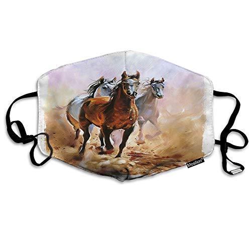 F Paard Masker Schets Van Wilde Dier Bruin Witte Paarden Hardlopen In De Wind Zand Mond Masker Unisex Maskers Herbruikbare Wasbare Polyester Anti-Stof Masker voor Mannen Vrouwen Buiten