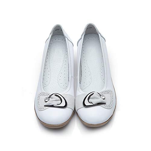 Zapatos de tacón de cuña para mujer, estilo informal, de piel auténtica, con cristales, color sólido, informal, suaves, transpirables, planos, blancos, 39