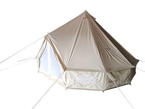 DANCHEL OUTDOOR Double Wall Full Mesh Cotton Canvas Spacious Bell Tents with Top Fiberglass Stove Jacket, 13ft