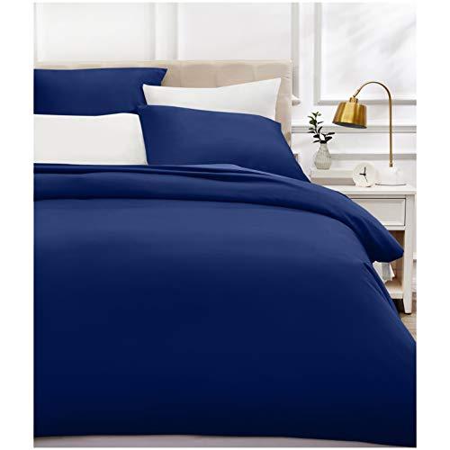 AmazonBasics - Bettwäsche-Set, Fadendichte 400, Baumwollsatin, 200 x 200 cm und zwei Kissenbezügen, 80 x 80 cm, Marineblau