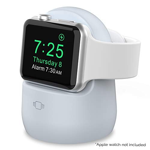 AhaStyle iWatch Charging Stand Silicone Dock for Apple Watch Series SE/6/5/4/3/2/1(44/42/40/38mm),Supports Nightstand Mode【Adapters NOT Included】(Light Blue)