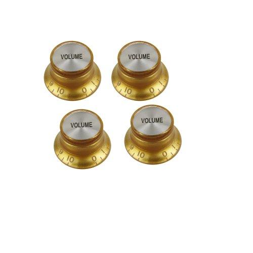 Musiclily 6mm Metrisch Gitarre Poti Knopf Bell Volume für Singlecut-Modelle,Gold (4 Stück)