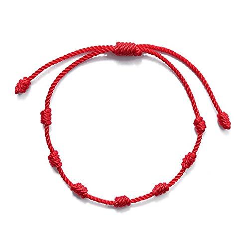 XIGAWAY 2 pulseras de cuerda roja con 7 nudos con tarjeta de deseos para la buena suerte amuleto éxito y prosperidad de la amistad kit de pulseras