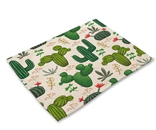 1 Pcs Cactus Plants Fabric Coaster Placemats Best Popular Place Mats Dinning Table Sets Non Slip Kids Learning Food Plates Washable Kitchen Room Tool Holiday Decorations, Type-01