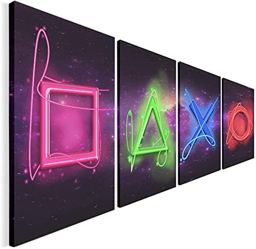 Proxiceen Cuadro de 4 piezas de lienzo para pared, diseño de gamers (sin marco, 120 x 45 cm)