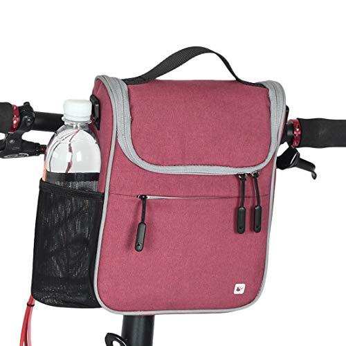 CamGo Bike Basket Bicycle Handlebar Bag Front Frame Top Tube Storage Bag Mini Shoulder/Hand Bag with Rain Cover (Rose)