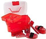 Pfiff 101752 - Cassetta per la Pulizia dei Cavalli, con Scritta Stella, Colore: Rosso