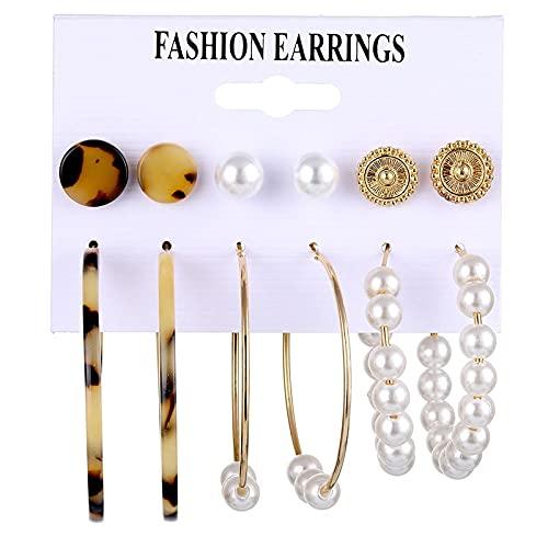 FEARRIN Pendientes de Moda Diseño único Pendientes de aro de Gran tamaño Conjunto de Color Dorado Círculo Acrílico Pendientes de Mujer Mujer Bohemia Declaración Brincos Jewelry LNIE0807-2