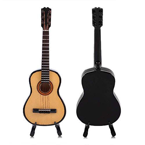 Statues and Sculptures Outdoor Decor for Garden,Miniature Wooden Wood Acoustic Guitar Musical Instrument Home Collection Decoration