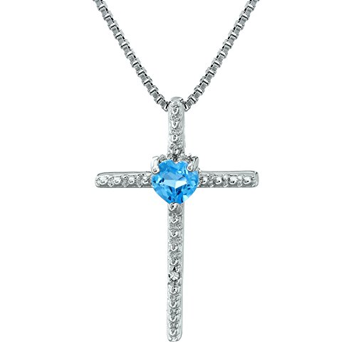 Heart Blue Topaz Cross Pendant with .01 cttw Diamonds - Sterling Silver - 18