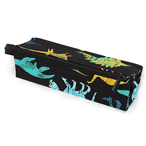 Sonnenbrillen Soft Protector Box Rhombus Federmäppchen, bunte Dinosaurier-Silhouette, Multifunktionstasche mit Reißverschluss für Studenten, Kinder, Teenager, Mädchen, Damen, Herren, Jungen