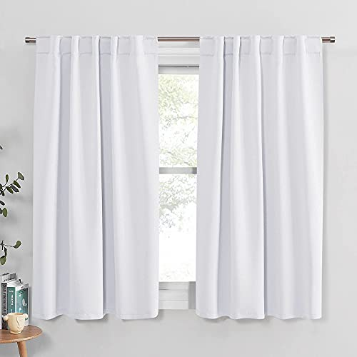 PONY DANCE White Window Curtains - Window Dressing Soft Fabric Back Tab/Rod Pocket Kids Drapes Privacy Protect for Bedroom & Bathroom, 42 W x 54 inch L, Pure White, 2 PCs