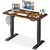KKL Height Adjustable Electric Standing Desk, 48 x 24 Inches Sit Stand Desk Home Office Table with Splice Board, Rustic Brown