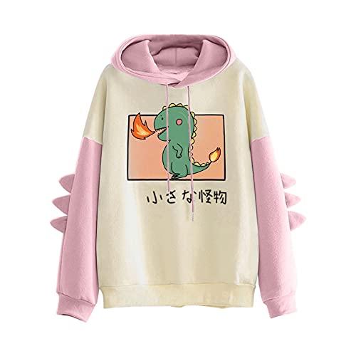 Pianshanzi Hoodies Sudadera con capucha para mujer, adolescente, niña, Kawaii, dinosaurio, sudadera de manga larga, camiseta sin bolsillos, C rosa., M
