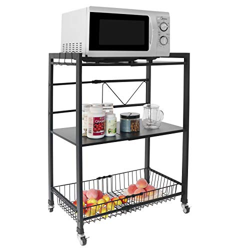 Ayaya Rolling Kitchen Cart Microwave Shelf Expandable Microwave Stand Kitchen Storage Adjustable Spice Racks for Cabinets with 3 Hooks
