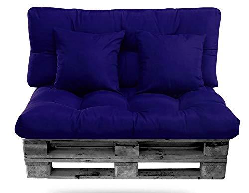 Pack de Cojines Palet (Asiento + Respaldo + 2 Cojines Decorativos) para europalets. Conjunto de Cojín para Palets. Ideal para terrazas, Jardines y Salones, Relleno de Calidad (Azul)