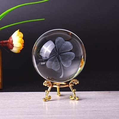 FISISZ 60 Cm / 80 Cm 3D 8 Tipos De Adornos De Bolas De Cristal De Grabado Láser Sistema De Estrella De Trébol De Cuatro Hojas Patrón De Dragón Bola De Decoración del Hogar