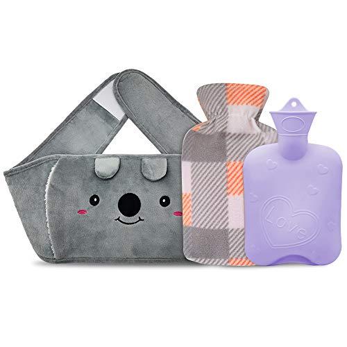 Wärmflaschen, Gummi-Warmwasserbeutel mit 2er-Pack Plüschbezug mit weicher Taille, Heißwasserbeutel zur Schmerzlinderung für Hals, Rücken, Schulter und Beine (purple)