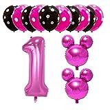 Amycute 13 pcs Globos de Cumpleaños 1 año de Mickey Minnie, Decoración Fiesta de Cumpleaños Fiesta de Mickey Minnie 1 Globo de Papel de Aluminio y Globo de Latex Negro Rosa para Happy Birthday Niña 1